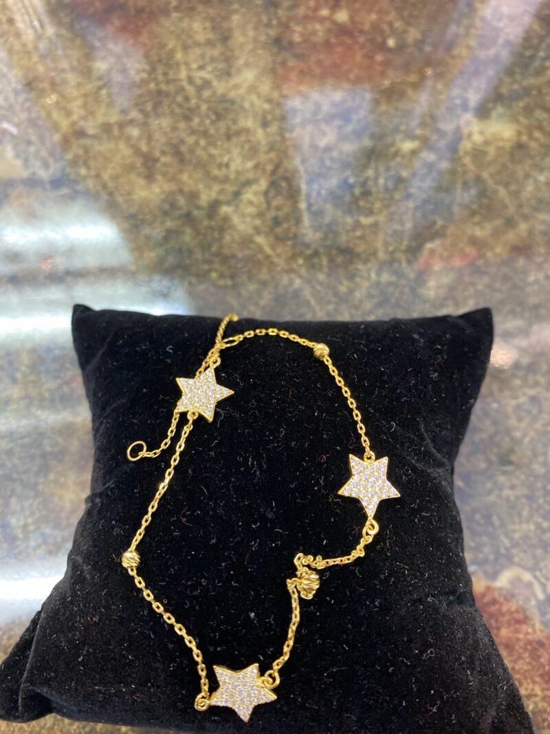 10k Gold 3 Stars Cz Diamond Charm Anklet