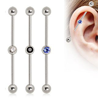 Industrial Barbell With Gem Ball In The Center