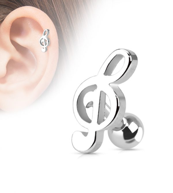 Treble Clef Music Note Tragus/Cartilage Piercing Stud