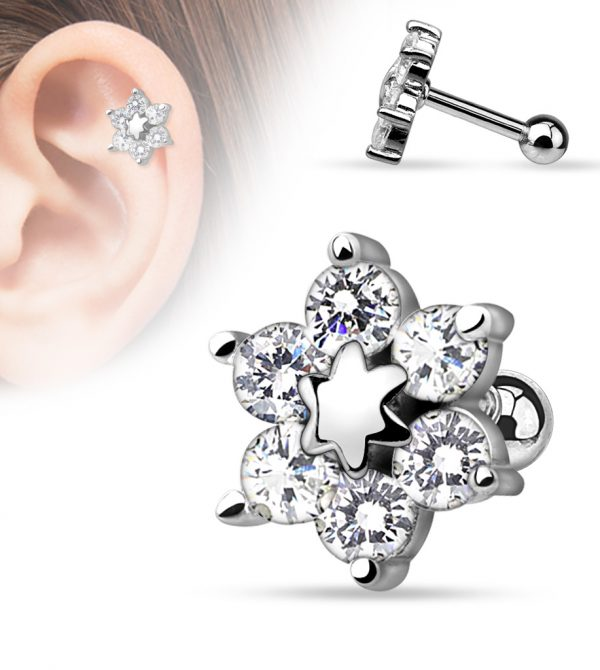 CZ Flower Cartilage/Tragus Barbell