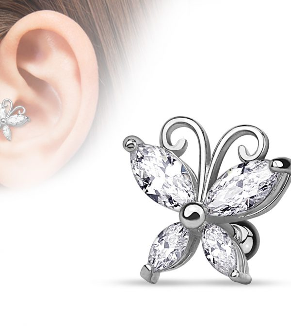 Marquise Cut CZ Butterfly Cartilage/Tragus Bar