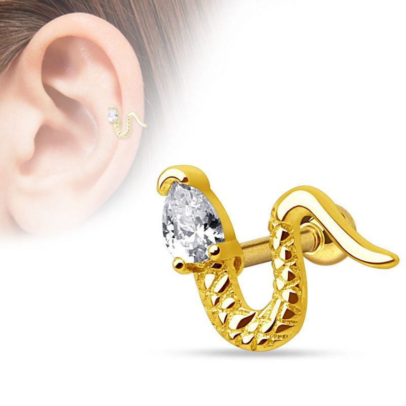 Snake with Triangle CZ Head 316L Surgical Steel Cartilage/Tragus Barbell