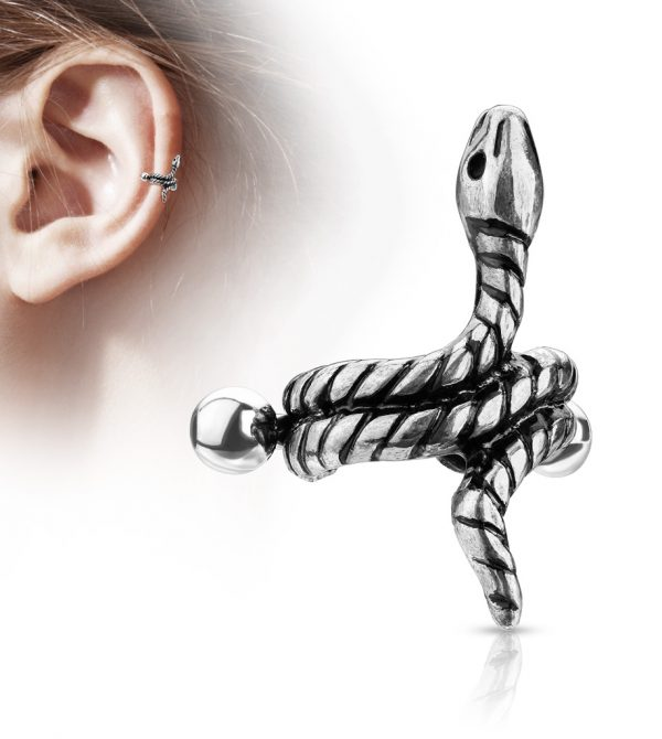 Coiled Snake Helix Cuff with Barbell