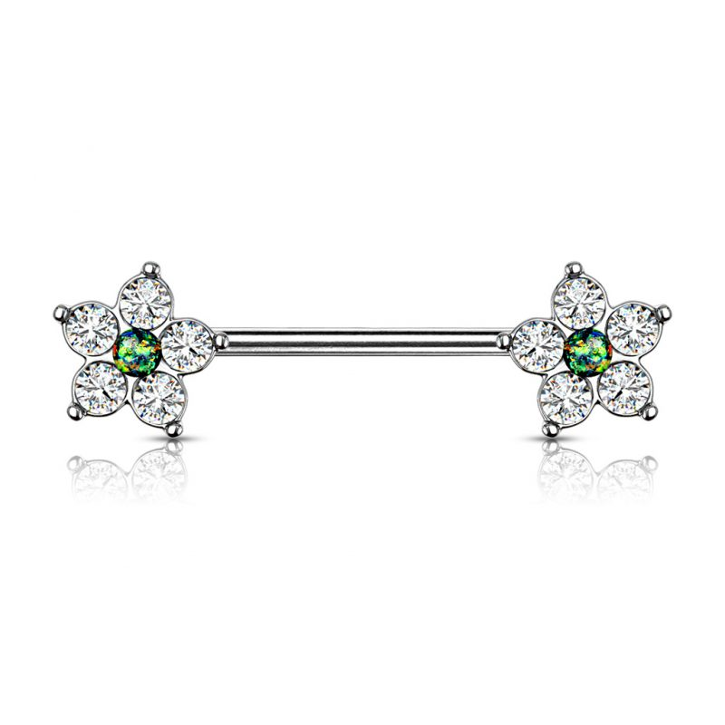 Flower with Opal Glitter Center Nipple Barbell Rings