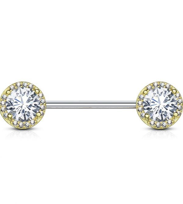 Round CZ Center with CZ Paved Around Ends 316L Surgical Steel Nipple Barbell Rings