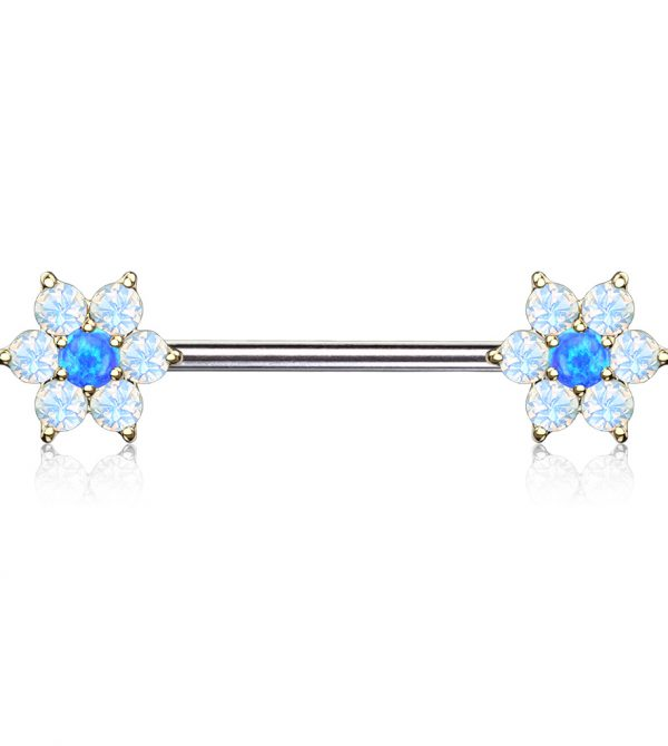 Opal Flowers on Both Ends Barbell Nipple Rings
