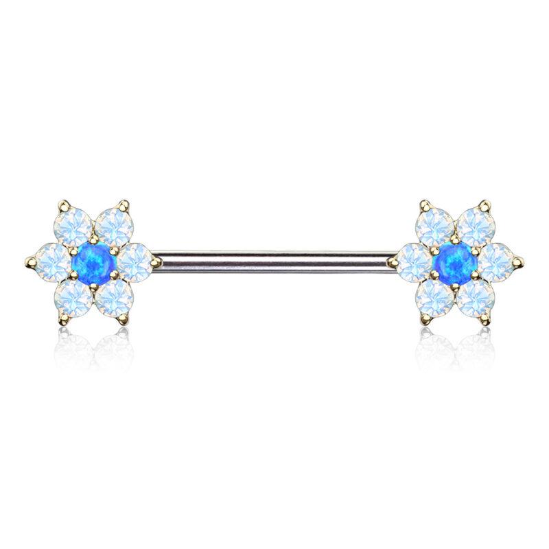 Opal Flowers on Both Ends Barbell Nipple Rings