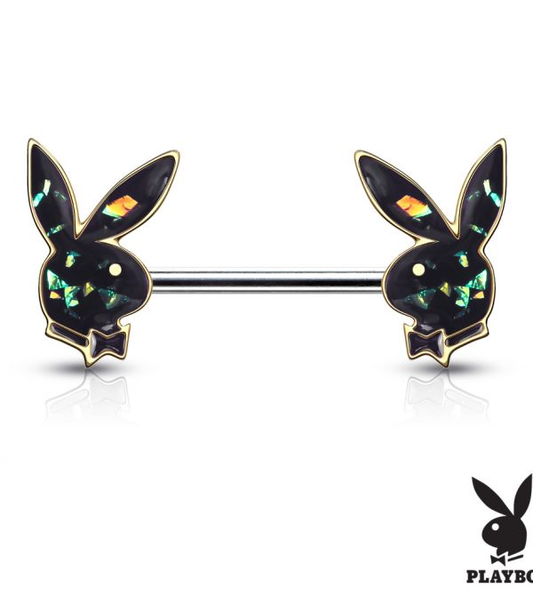 Opal Glitter Playboy Bunny Ends Barbell Nipple Rings
