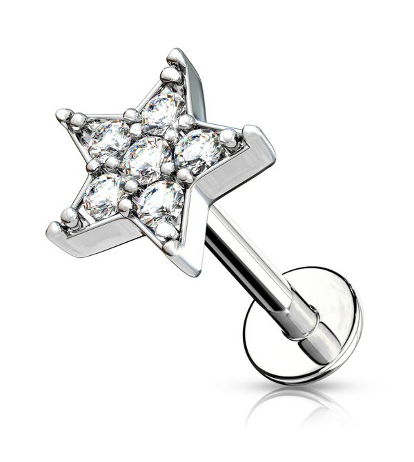 CZ Paved Star Labret/ Monroe/ Ear Cartilage Studs