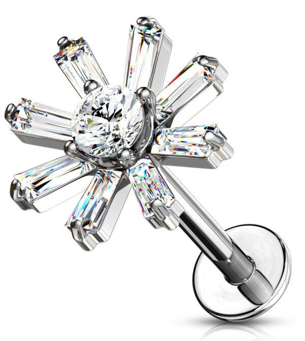 Baguette Crystal Petals Labret/Monroe/Cartilage Studs