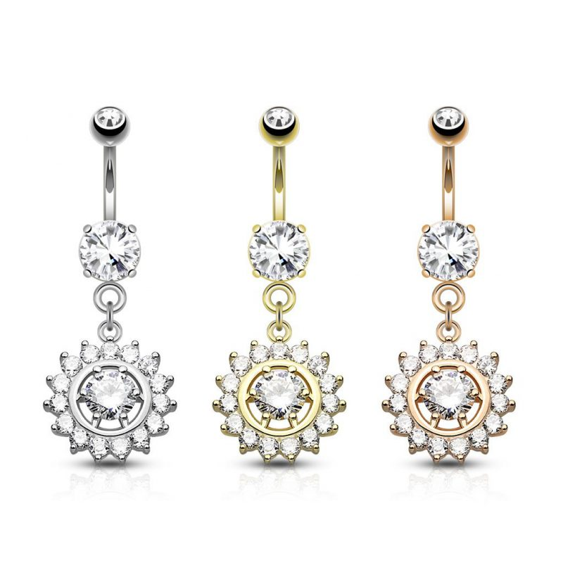 Claw Set CZ Around CZ Center Dangle 316L Surgical Steel Belly Button Navel Rings