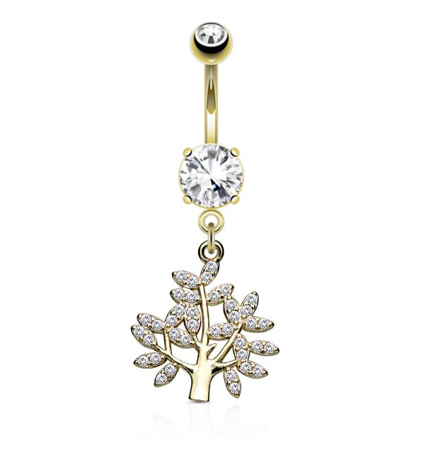 Paved Life Tree Dangle and Belly Button Navel Rings