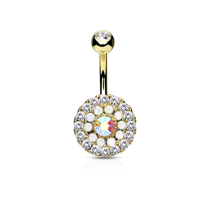 Multi Circle Triple Tiered Crystal & Opalite Navel Ring