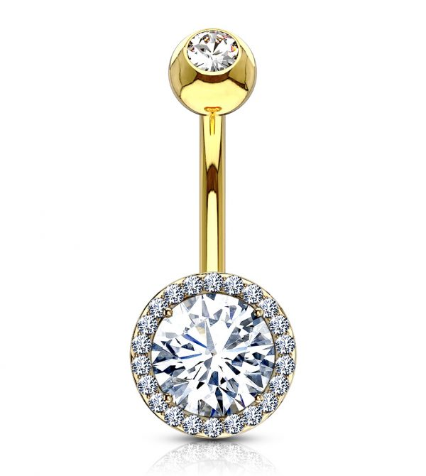 CZ Round Prong Set CZ Double Tier Navel Rings