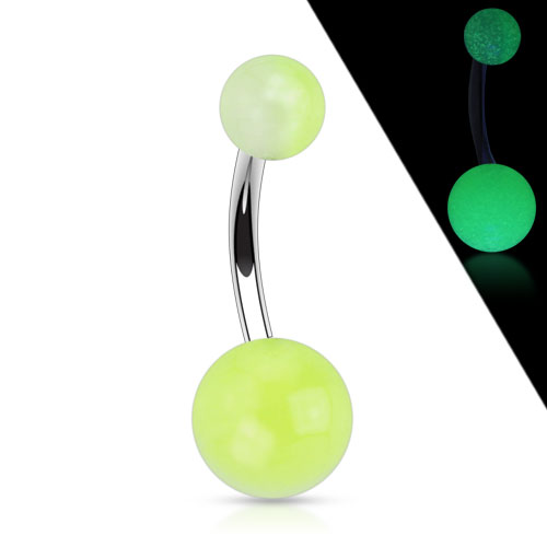 Navel Ring with 2-tone Glow in the Dark Ball