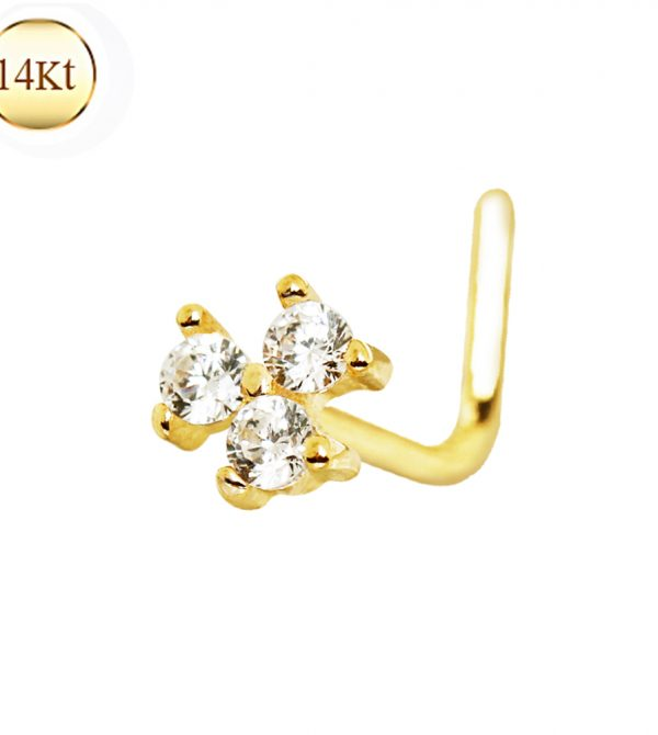 14Kt Gold Clear Cz Flower L Bend Nose Ring