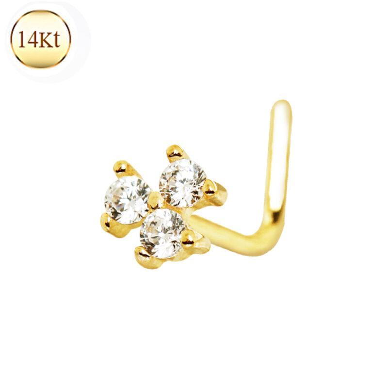 14Kt Gold Clear Cz Flower L Bend Nose Ring