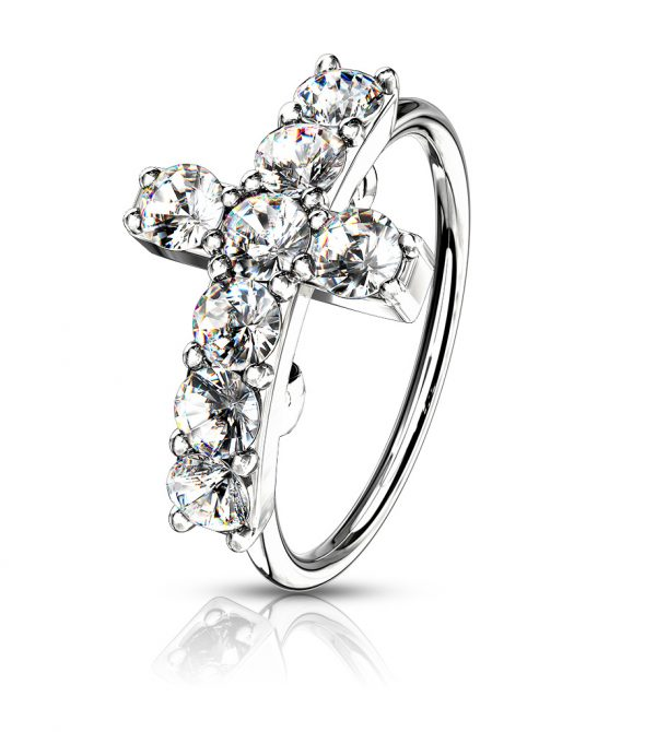 CZ Paved Cross Top Bendable Nose Hoop Rings