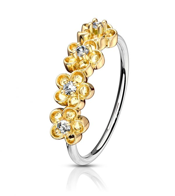 4 Paved Flowers Bendable Nose/Cartilage Hoop Rings