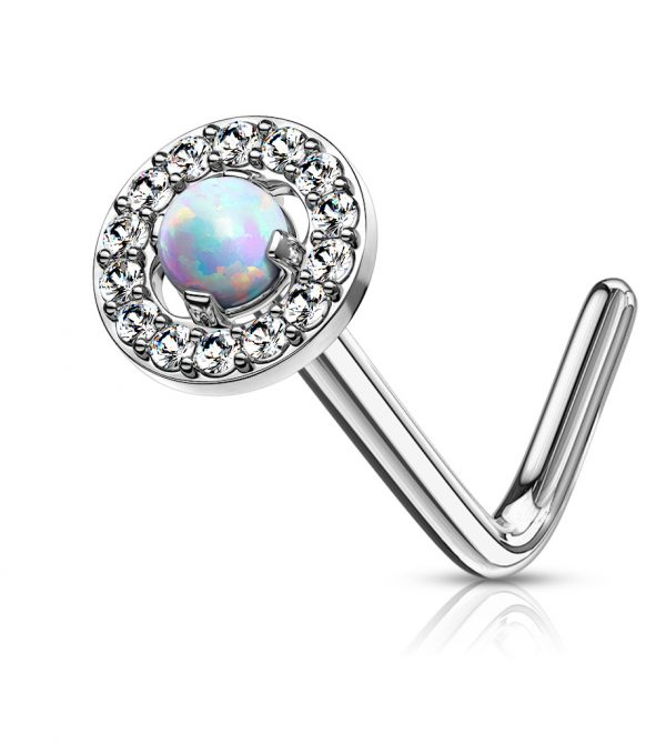 Dome Opal Circle L Bend Nose Stud Rings