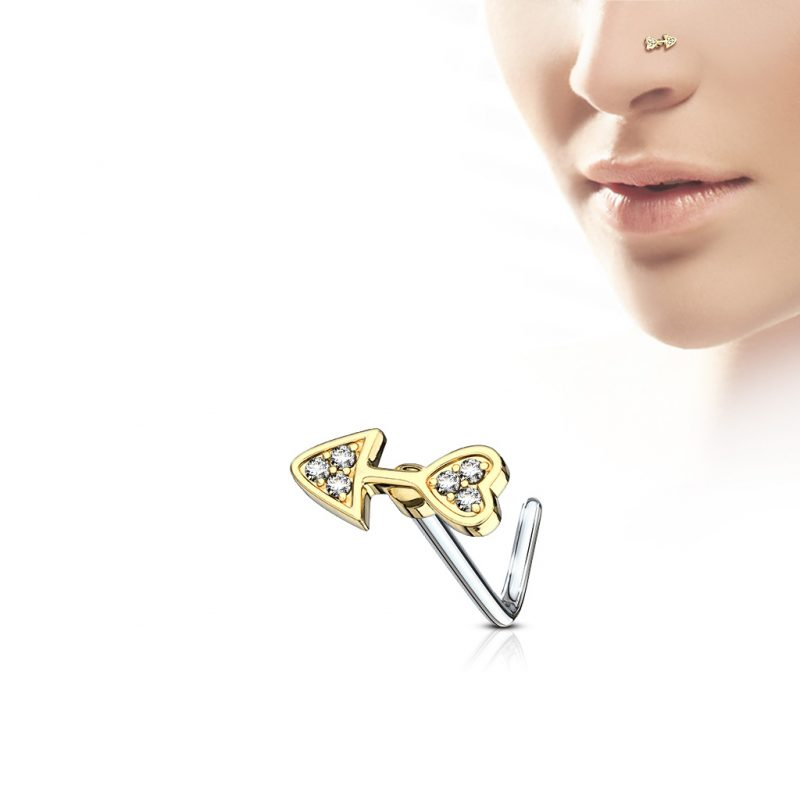 CZ Paved Arrow Heart L Bend Nose Stud Rings