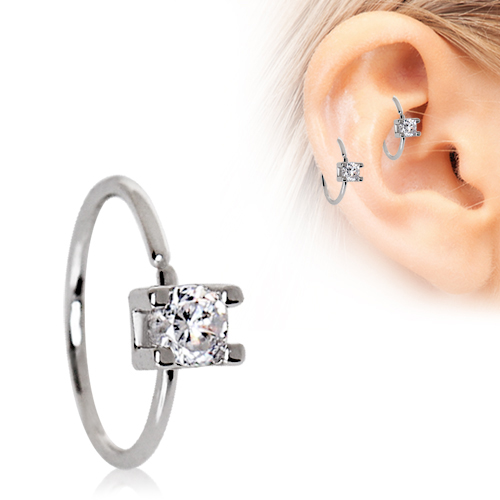 316L Stainless Steel Prong Set CZ Nose Hoop/Cartilage Earring