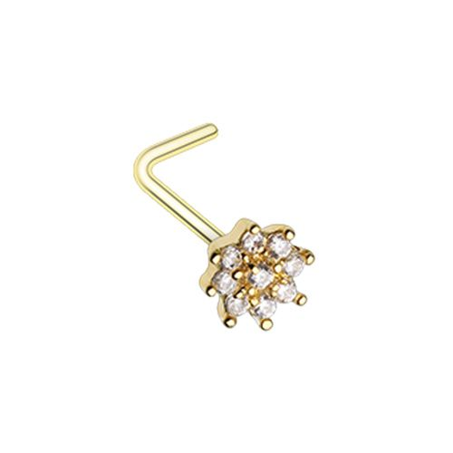 Gleaming CZ Flower L-Shape Nose Ring