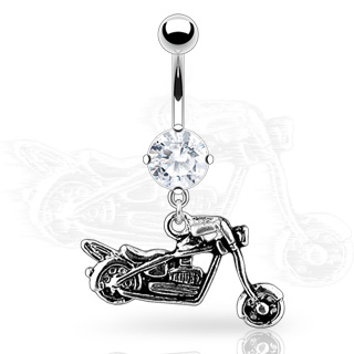Motorcycle Dangle w/ Round CZ Navel Ring