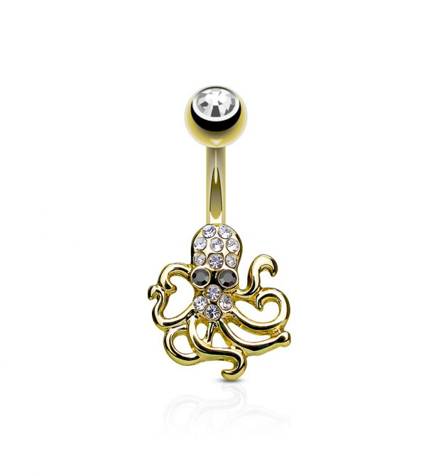 Crystal Paved Octopus Belly Button Navel Rings