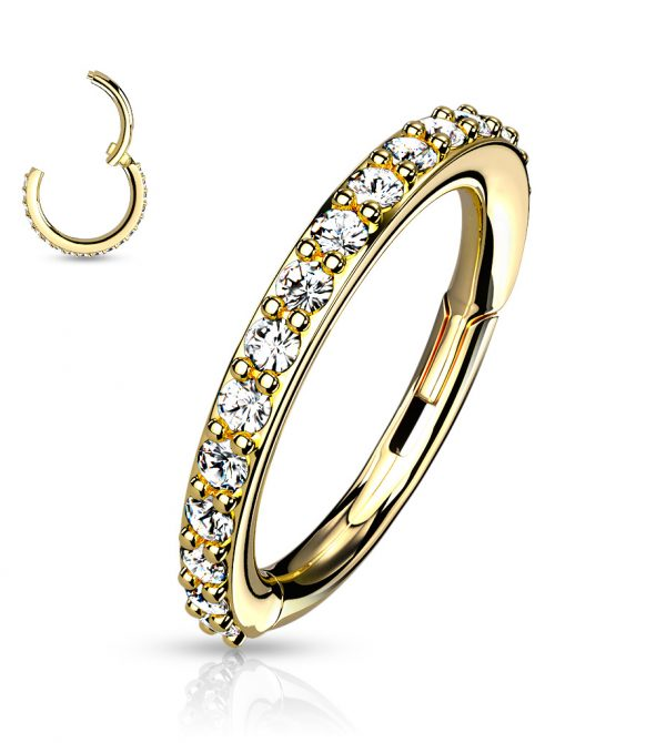 Hinged Segment Hoop Rings with CNC Set CZ Paved
