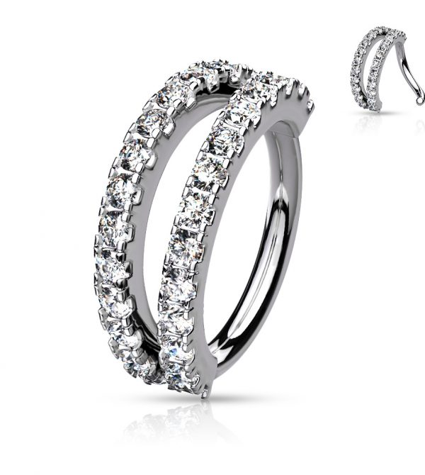 Double Lined Micro Set CZ Bendable Hoops