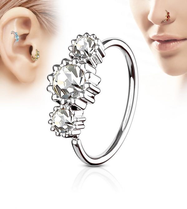 3 Round CZ Set Hoop Ring for Nose & Ear Cartilage