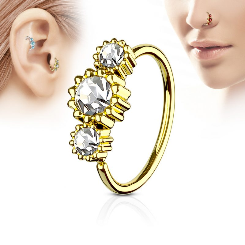 3 Round CZ Set Gold IP Plated 316L Surgical Steel Hoop Ring for Nose/ Ear Cartilage