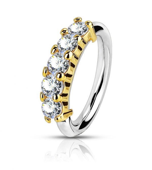 Bendable Hoop Ring With 5 Lined CZ