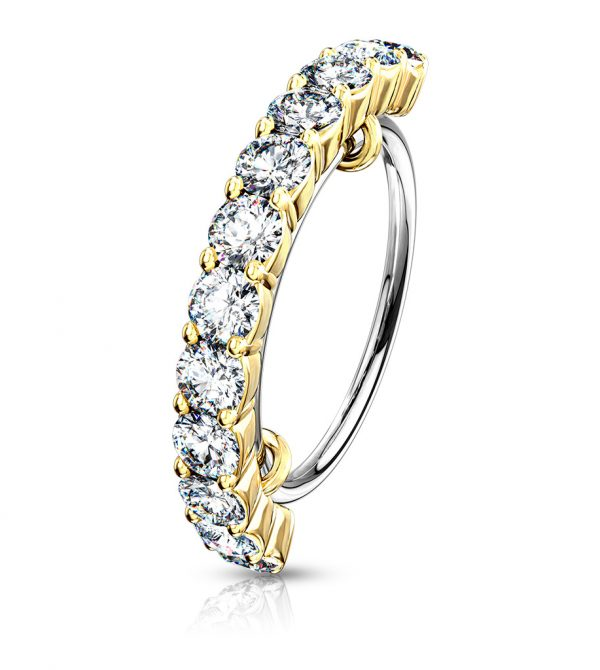 Half Circle Lined CZ Bendable Hoop Ring
