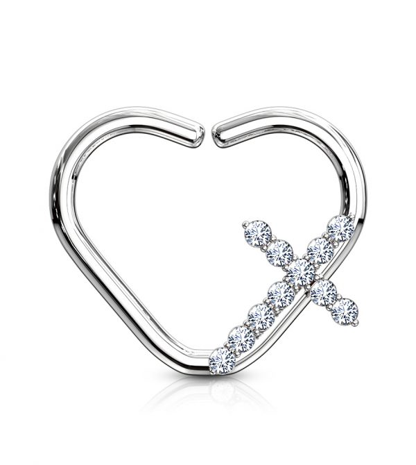 Cross Heart Shape Ear Cartilage/Daith Hoop Rings