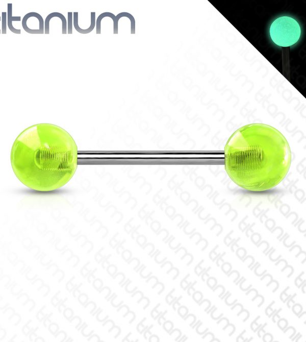 Glow In The Dark Balls Solid Titanium Barbell