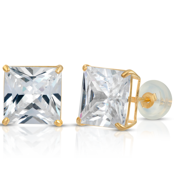 10K Gold Princess-Cut Stud Earrings VVS Sim Dia