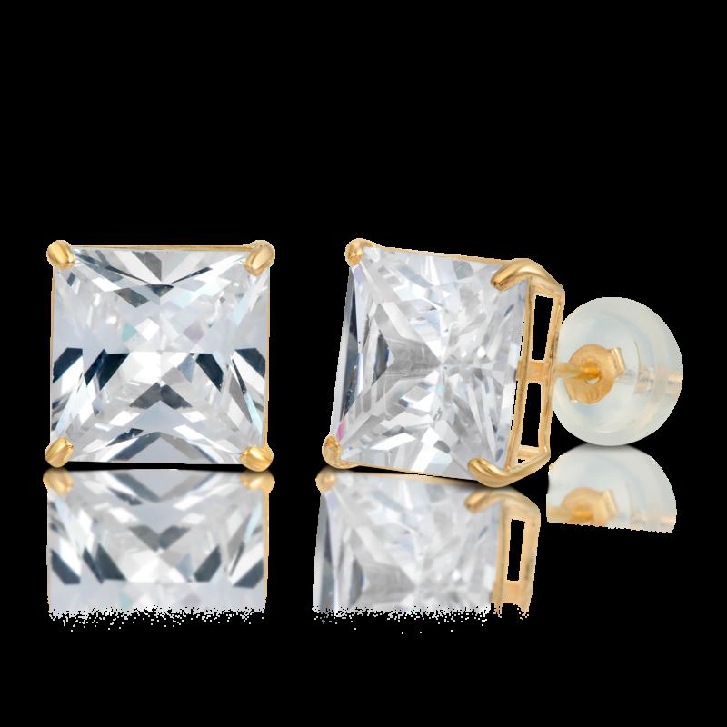 10K Gold Princess-Cut Stud Earrings VVS Sim Dia