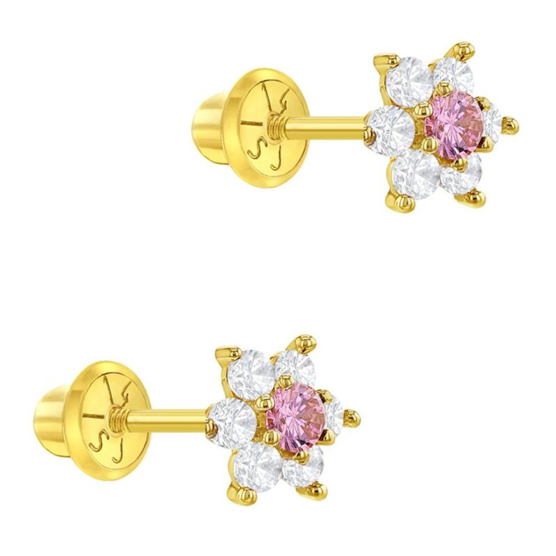 14k Yellow Gold Flower Screw Back Earrings