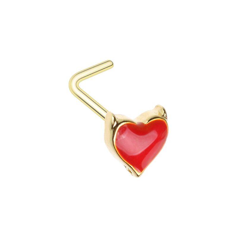 Golden Devil's Heart L-Shaped Nose Ring