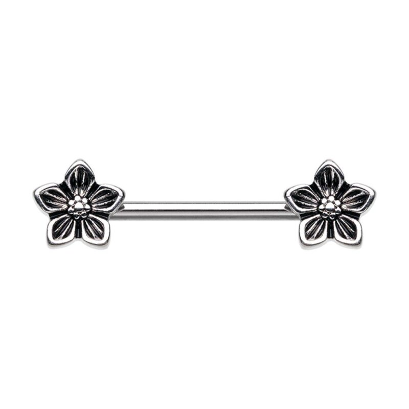 Antique Heirloom Flower Nipple Barbell Ring