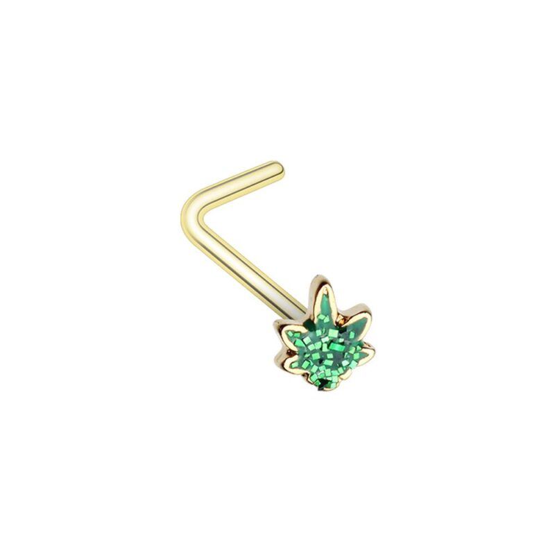 Royal Glitter Cannabis Pot Leaf L-Shape Nose Ring