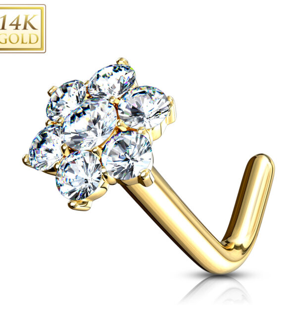 CZ Cluster Flower Nose Stud Ring 14 Karat Solid Gold