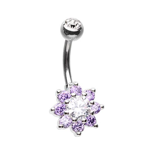 Luxuriant Spring Flower Cubic Zirconia Belly Button Ring
