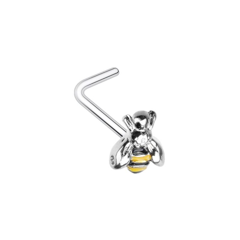 Buzz Off Bumble Bee L-Shaped Nose Ring