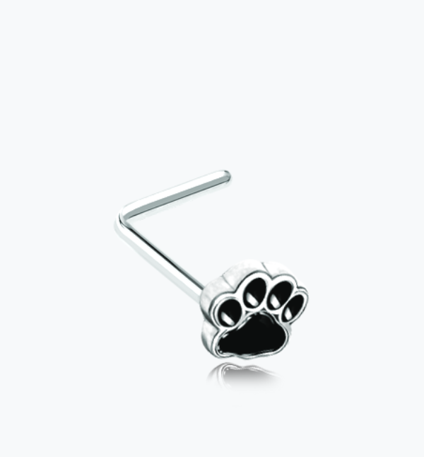 Animal Paw Print L-Shaped Nose Ring