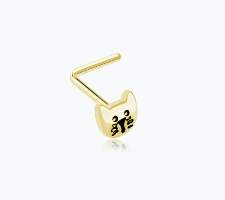 Golden Kitty Cat Face L-Shaped Nose Ring