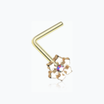Golden Snowflake Sparkle L-Shaped Nose Ring