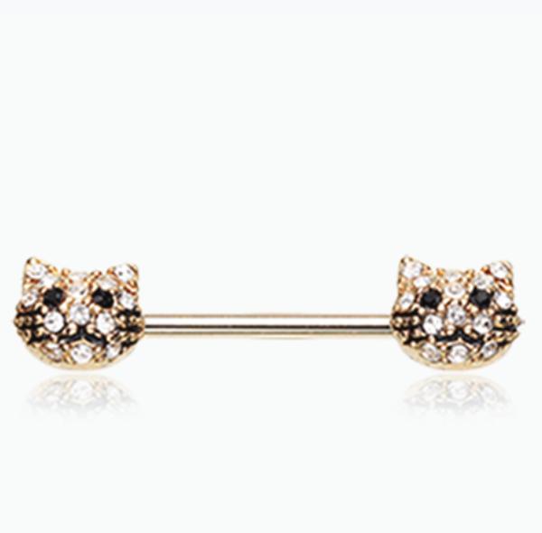 Golden Kitty Cat Multi-Gem Nipple Barbell Ring